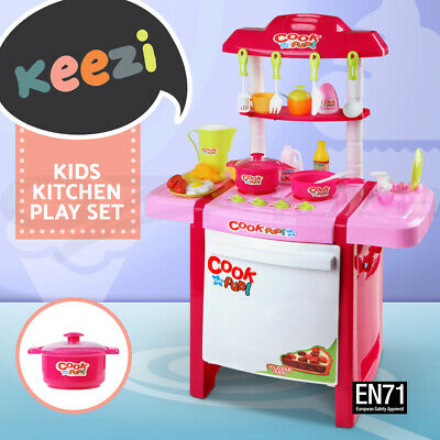 Keezi Kids Pretend Kitchen Toy Set Role Play Mini Chef Cookware Cooking Toddler