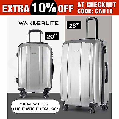 2pc Luggage Suitcase Trolley Set TSA Carry On Bag Hard Case Lightweight