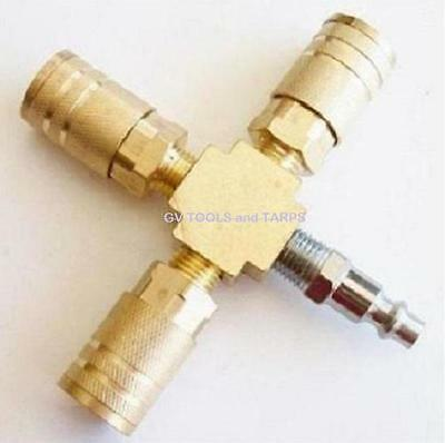 "3 way BRASS AIR QUICK CONNECTOR / COUPLER ~ 1/4"" NPT Brass ** FREE SHIPPING **"