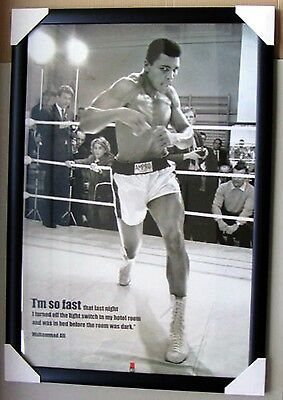 Muhammad Ali Framed poster  TRAINING black timber with glass I'M SO FAST