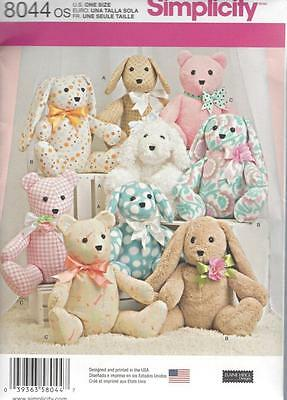Simplicity Sewing Pattern Crafts Two Pattern Piece Animals Dog Rabbit Bear 8044