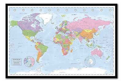 Miller Political World Map Pinboard - Cork Board - Choice Of Frame Colours
