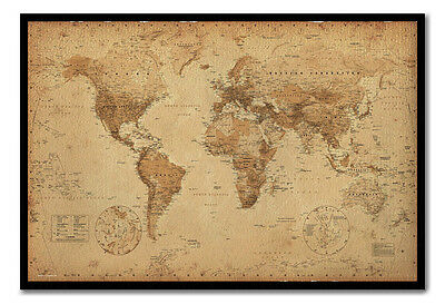 Ye Olde Parchment Style Map Pinboard Cork Board Inc Pins Choice Of Frame Colours