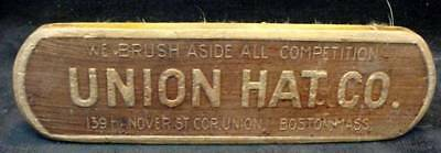 UNION HAT CO Advertising Hair Bristle Brush Boston MASS