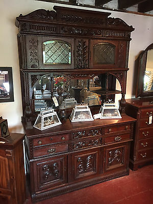 19th C OAK SERVER with MIRRORED and BEVELED GLASS TOP