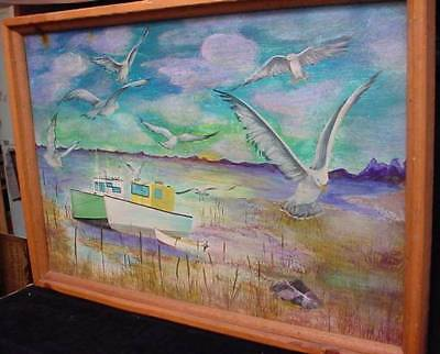 Large Colorful Funky NS Nova Scotia Folk Art Painting Fishing Boats Birds