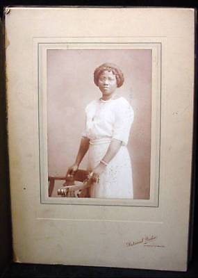 Vintage Black Americana Photo Elegant Young Lady In White