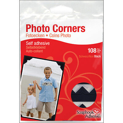 """Scrapbook Adhesives Paper Photo Corners Self-Adhesive 108/Pk-Black, Set Of 4"""