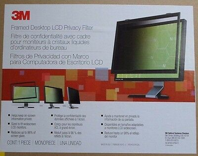 """3M Framed Privacy Filter For Standard LCD Screen Monitor 17"""" 98-0440-4460-4"""