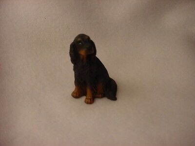 GORDON SETTER puppy TiNY FIGURINE Dog HAND PAINTED MINIATURE Mini RESIN STATUE
