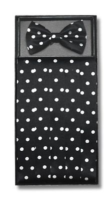 Cumberbund & BowTie BLACK w/ WHITE POLKA DOTS Men's Cummerbund Bow Tie Set