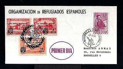 10342-Belgium-Spain-First Day Cover Brussels.1960.wwii.organit.spanish Refugee.