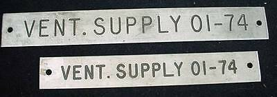2 Ships Equipment Signs Plaque Vent Supply 01-74 Nautical Hardware