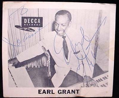 Vintage Old Earl Grant Signed Autograph Fan Photo Decca Records