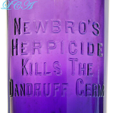 BEAUTIFUL purple FANCY barber NEWBRO HERPICIDE Butte Montana HAIR GROWER bottle