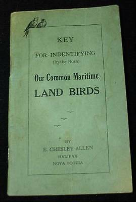 Key For Identifying Common Maritime Land Birds Booklet by E Chesley Allen NS