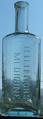 OLD western HHH HORSE MEDICINE DDT 1868 embossed BOTTLE