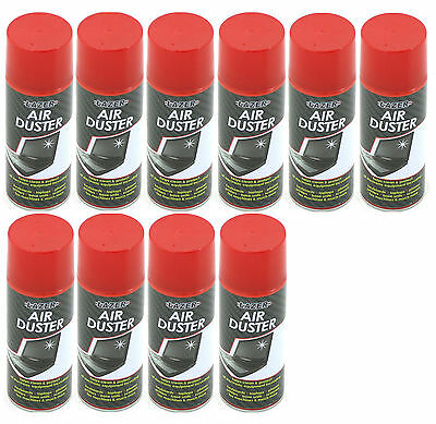 10 x Compressed Air Duster Spray Can Cleans & Protects Laptops Keyboards.. 400ml
