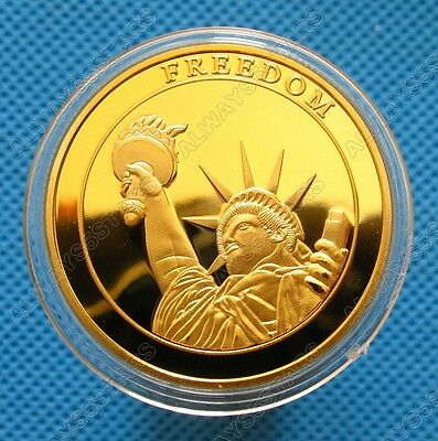 US 911 September 11 Statue of Liberty 24K Gold Plated Commemorative Coin