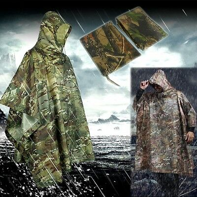 2IN1 Outdoor Waterproof Hooded Camping Poncho  Rain Cover Coat Camouflage Cloak