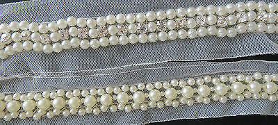 1mtr Ivory Lace and Pearl Beaded Trim Ribbon - Vintage Inspired - Bridal,Wedding