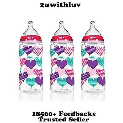 3 X Nuk Hearts Fashion Orthodontic Baby Bottles 10 Oz 300Ml Bpa Free