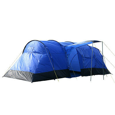Charles Bentley 8 Person 2 Room Camping Tunnel Tent - Blue L690 x W240 x H220 cm