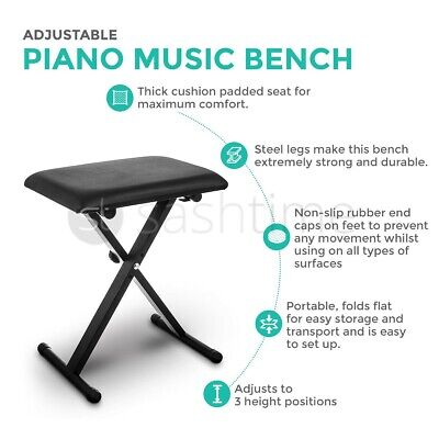 Height Adjustable Double Braced X Frame Music Piano Keyboard Stand  Chair Bench