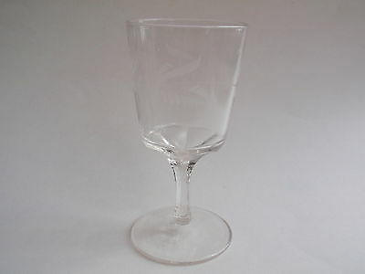 Vintage Clear Etched Frosted Fern Leaf Design Footed Water Wine Glass Art Deco