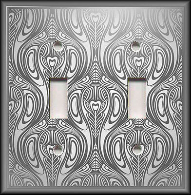 Light Switch Plate Cover - Antique Art Nouveau Design Home Decor Grey Silver