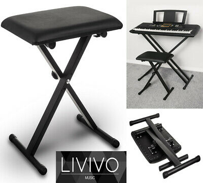 Livivo Piano Music Bench Leather Seat Stool Height Adjustable Black Pro X Frame