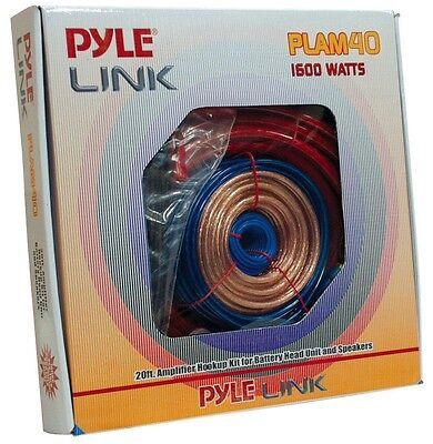 NEW Pyle PLAM40 20FT 4 Gauge 1600W Amp Hookup For Battery & Speaker Install Kit