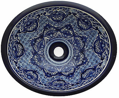 Mexican Bathroom Talavera Sink Handmade Ceramic Blue & White Drop In # 214