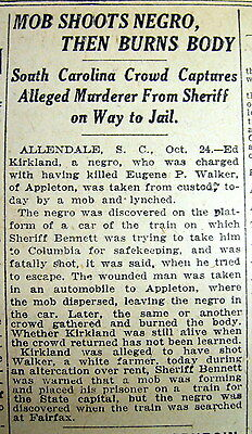 1921 NEW YORK TIMES newspaper NEGRO MAN is LYNCHED at ALLENDALE South Carolina