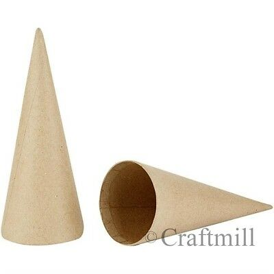 TEN x 14cm tall Cardboard / Card Cones - for Modelling, Christmas Craft etc