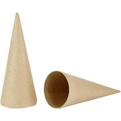 TEN x 20cm tall Cardboard / Card Cones - for Modelling, Christmas Craft etc