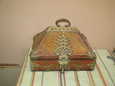"Vintage Asian Oriental Wood Box w/ Brass Decor 9"" x 11-1/2"" x 8"""