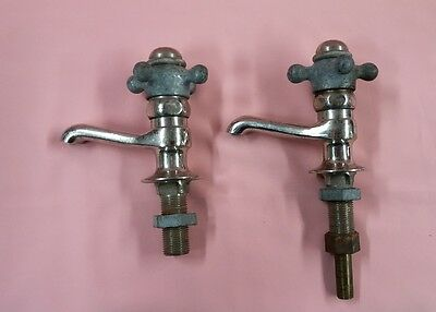 2 Antique WATER FAUCET Brass Chrome Old Vintage Plumbing L@@K