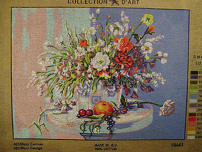 BOUQUET OF FLOWERS ON BLUE  Needlepoint Tapestry Canvas