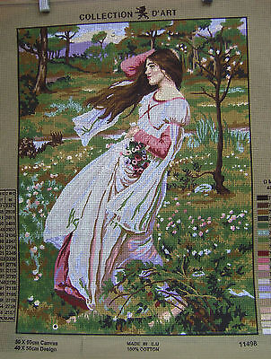 GIRL IN FIELD OF WILDFLOWERS Needlepoint Tapestry Canvas
