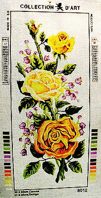 GOLDEN YELLOW ROSES  Needlepoint Tapestry Canvas