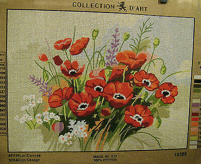 WILDFLOWERS & RED POPPIES Needlepoint Tapestry Canvas