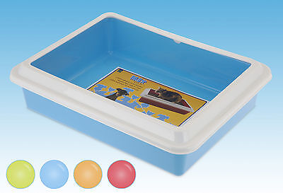 Large Cat Kitten Litter Tray Candy Colours with White Removable Rim Pet Toilet