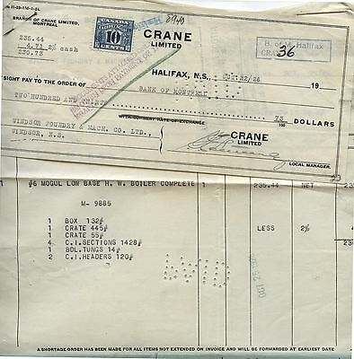 Old 1926 Crane Limited Halifax Letterhead & Cancelled Check