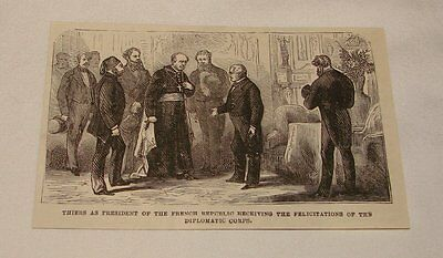 1877 magazine engraving ~ THIERS AS PRESIDENT, France