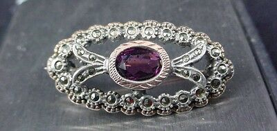 Exceptional Sterling Silver Marcasite Amethyst Gold Brooch Pin Estate Piece