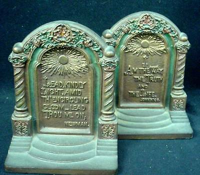 Pair Bookends Bradley Hubbard Book Ends Polychrome Bible Verse & Newman Quote
