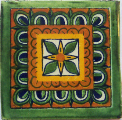 "90 Ceramic Handmade Wall Clay Backsplash Mexican Tiles Talavera 4x4"" C345"