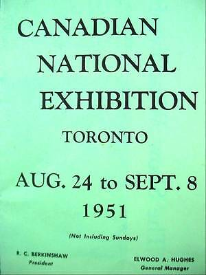 Canadian National Exhibition Toronto 1951 Highlights Program St Lawrence Seaway