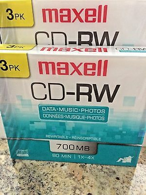 Maxell CD-RW 700 MB Rewritable Discs, 1x-4x, 80 min - 6 pack